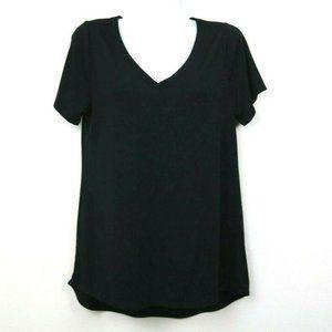 LuLaRoe Womens Blouse Christy T Shirt V Neck Black